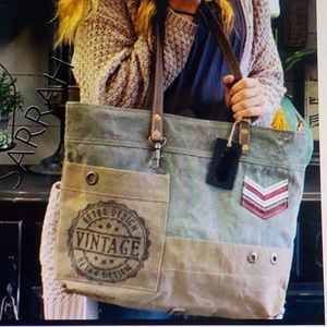 Tan/Grey Canvas & Leather Military-Look Tote
